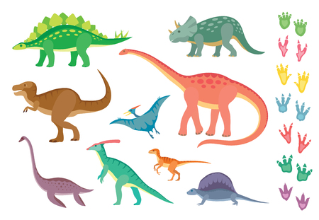 Set of colorful dinosaurs and footprints, isolated on wite background.