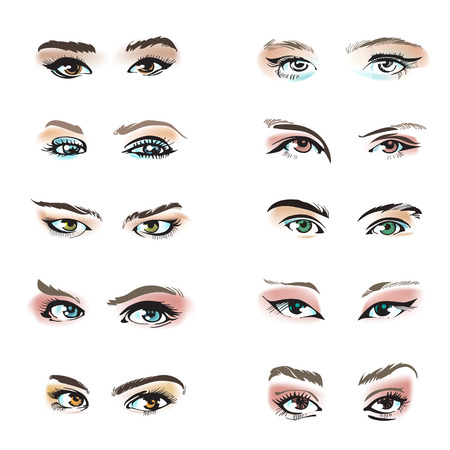 Eyes set vector collection. Look and Vision, cosmetic and beauty.