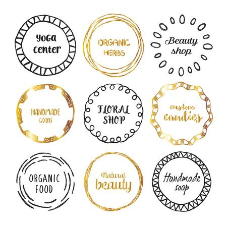 Set of hand drawn circle logo with the place for text. Illustration