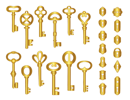 Vintage gold keys and keyholes collection.