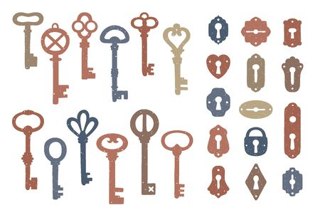 Vintage colorful keys and keyholes collection. Illustration