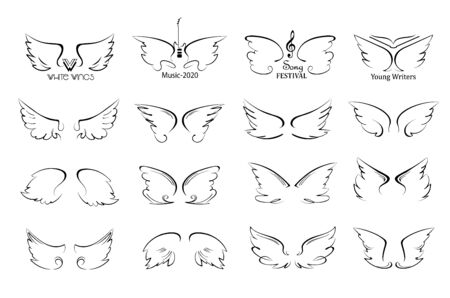 Wings icon sketch set cartoon hand drawn doodle style isolated on a white background, vector illustration Иллюстрация