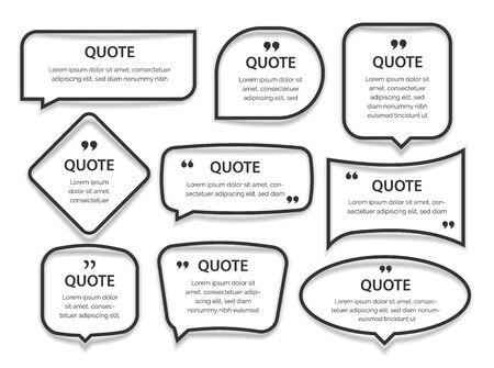 Zitieren Sie Rahmen Textfelder Leere Vorlage mit Druckinformationen Designzitate