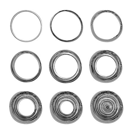 Hand drawn circle line sketch set. Vector circular scribble doodle circles for message note mark design element. Pencil or pen graffiti bubble or ball draft illustration.