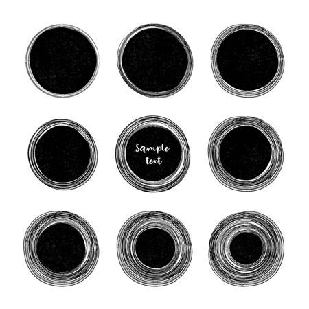 Croquis de ligne de cercle dessiné à la main avec la place pour le texte Griffonnages circulaires vectoriels pour la marque de note de message, éléments de conception Bulle de graffiti au crayon ou au stylo ou illustration de projet de balle. Vecteurs