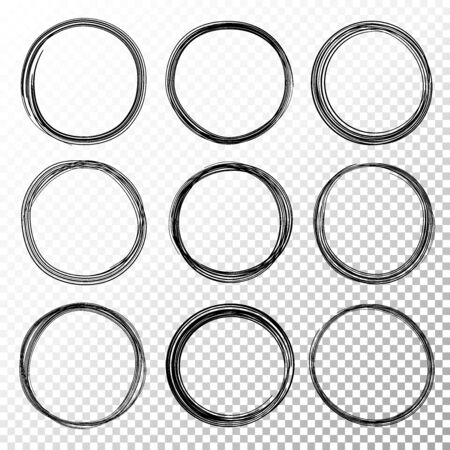 Hand drawn circle line sketch set on transparent background. Vector circular scribble doodle circles for message note mark design element. Pencil or pen graffiti bubble or ball draft illustration.