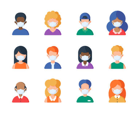 People in medical mask set of avatar vector illustration. Young, adult man and woman user Иллюстрация