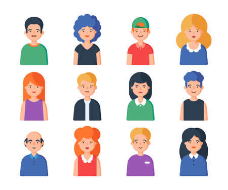 People portrait set of avatar vector illustration. Young, adult happy man and woman user