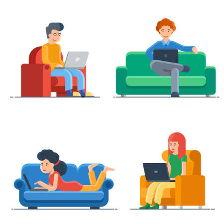 Set of freelance people working at home isolated on white background. Self employment in quarantine. Business character on comfortable workplace. Man ans woman on armchair or sofa with laptop Иллюстрация