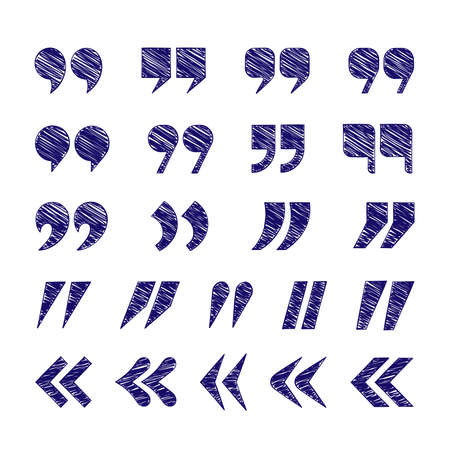 Quotation mark icon set isolated on white background. Collection of punctuation sign. Vector illustration.