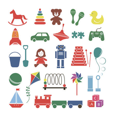 Set of toy icons colorful baby game element isolated on a white background, vector illustration for design. Иллюстрация