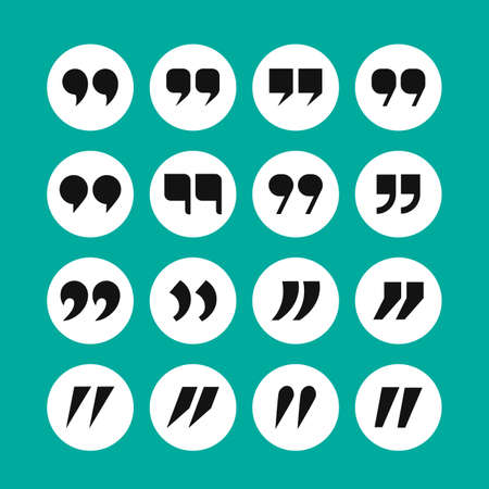 Quotation mark icon set. Comma, black object in bubble. Vector illustration
