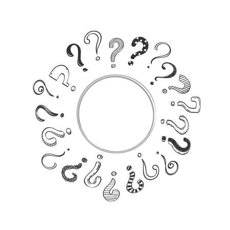 Hand drawn question marks, doodle questions on a white background arranged in a circle, vector illustration. Banque d'images - 151019461