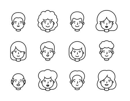 People portrait line outline set of avatar vector illustration. Young, adult happy man and woman user Иллюстрация