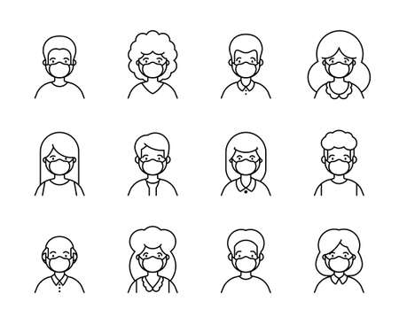 People in medical mask line outline icon set of avatar vector illustration. Young, adult man and woman user