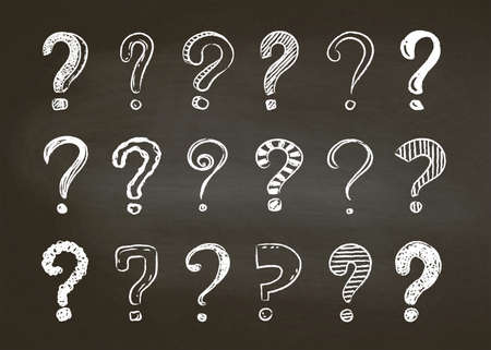 Set of hand drawn doodle question marks on a black board background, vector illustration.