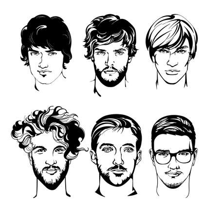 Set of drawing men with different hairstyle vector illustration on white background. Guy with glasses, beard, mustache. People silhouette Иллюстрация