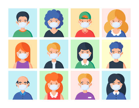 People in medical mask set of avatar vector illustration. Young, adult man and woman user on different background