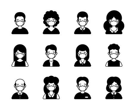 People in medical mask glyph icon set of avatar vector illustration. Young, adult man and woman user Иллюстрация