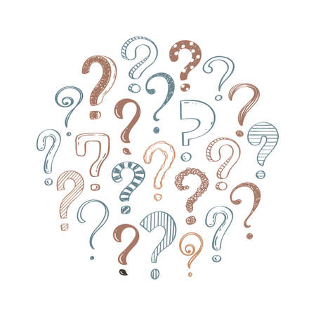 Hand drawn question marks on white background, doodle questions arranged in a circle, vector illustration in retro style. Banque d'images - 151020421