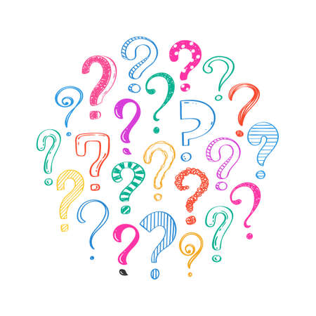 Hand drawn question marks on white background, doodle questions arranged in a circle, vector illustration.