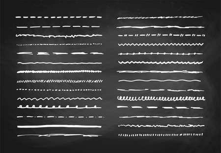 Marker hand drawn vector line border set and scribble design elements on a blackboard background, vector illustration Vetores