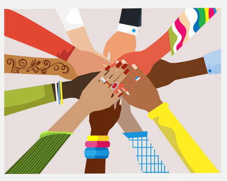 Hands of diverse group of women putting together. Concept of sisterhood, girl power, feminist community or movement, friendship, support and cooperation. Flat cartoon colorful vector illustration