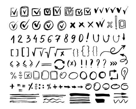 Hand drawn mark icon set isolated on white background. Doodle checkmark, arithmetic number and border element Иллюстрация