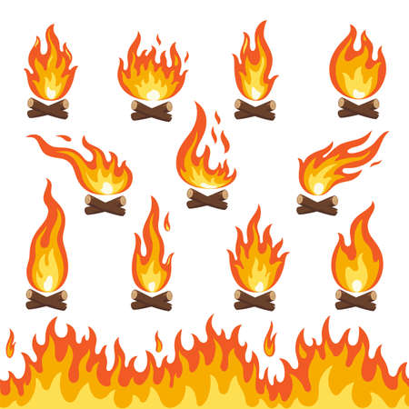 Set of bonfire and fire wood isoled on white. Flat cartoon campfire. Danger and hot temperature outdoor object. illustration