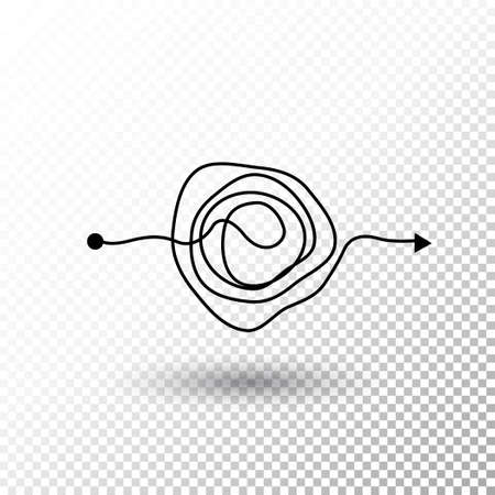 Messy line complicated clew way with transparent shadow Tangled scribble vector path