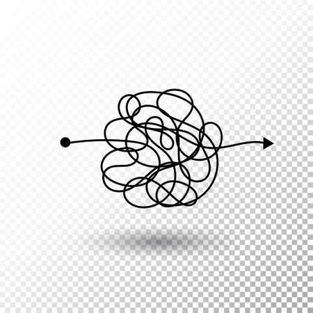 Insane messy line. Complicated clew way with transparent shadow. Tangled scribble vector path