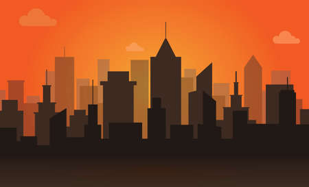 Scene of city building on orange sky background