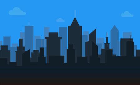 Scene of city building on blue sky background
