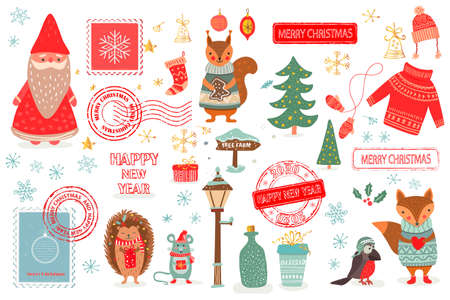 Hand drawn Christmas set in cartoon style. Funny card with cute animals and other elements Vettoriali