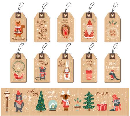 Christmas tags set with Santa, animals and Christmas elements