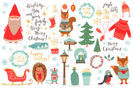 Hand drawn Christmas set in cartoon style. Funny card with cute animals and other elements Ilustração