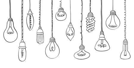 Isolated Bulbs of different types hand drawn doodle bulb set Ilustração