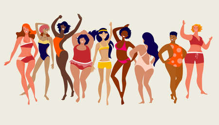 Multiracial women of different height, figure type and size dressed in swimsuits dancing anfd standing in row Vecteurs