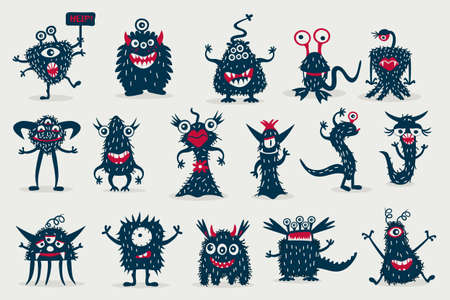 Cute black monster set, isolated on a white background, cartoon monsters Banco de Imagens - 152664944