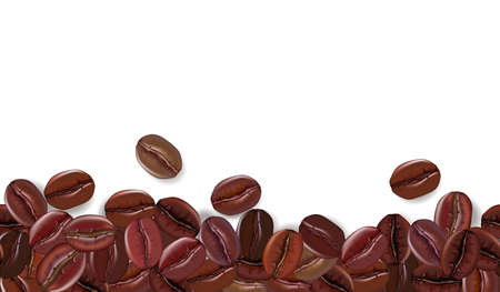 Realistic coffee beans background with white the place for text. Vector illustration