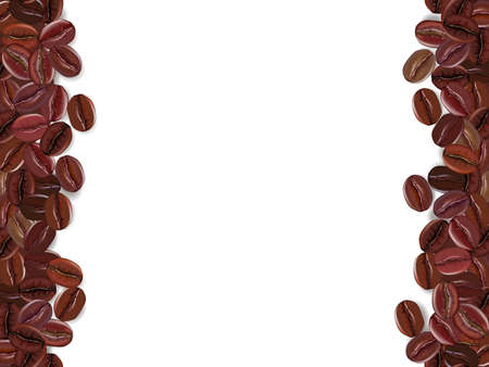 Realistic coffee beans background with white the place for text