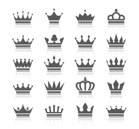 Crowns icon set black silhouettes isolated on a white background