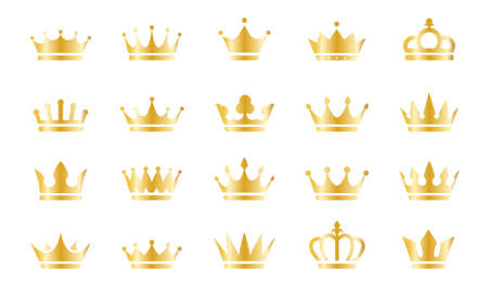 Gold crown icons set isolated on white background