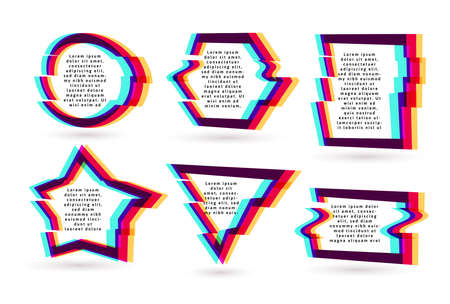 Vector frames with glitch tv distortion effect and a place for text, geometric shapes star, triangle, circle, square, rhombus