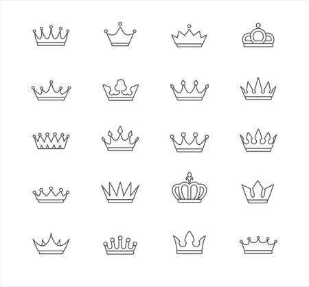 Set of contour, empty, flat crowns. Isolated, editable Иллюстрация