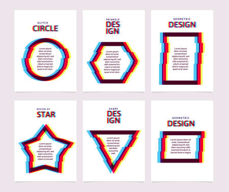 Glitch geometric shapes with place for text on cards, banners, flyers