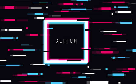 An illuminated square frame with glitch effect and a place for text Distorted glitch style modern background, glow design for banner, poster, flyer, brochure, card Иллюстрация