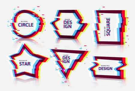 Vector frames with glitch tv distortion effect and a place for text, geometric shapes star, triangle, circle, square, rhombus, isolated on white background Иллюстрация