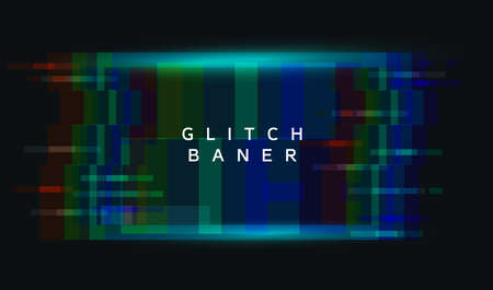 An illuminated square frame with glitch effect and a place for text