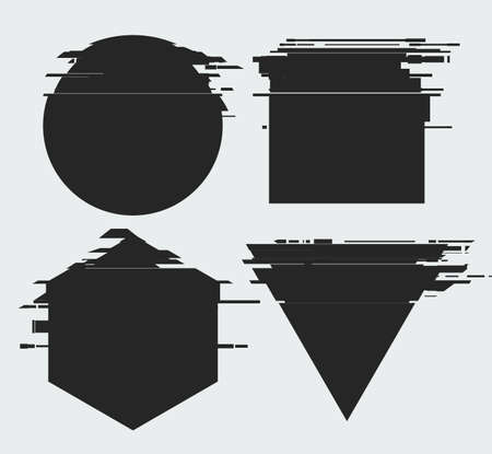 Vector sha peswith glitch tv distortion effect and a place for text, geometric shapes, triangle, circle, square, hexagone